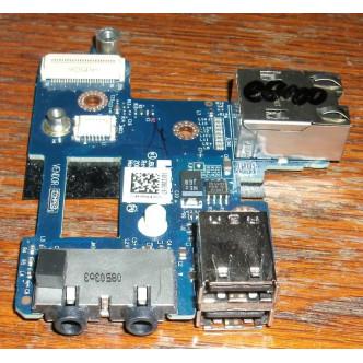 Платка с 2 USB порта, аудио жакове и lan порт за Dell Latitude E6400